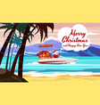 merry christmas santa claus on speed boat on ocean vector image vector image
