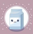 milk in box kawaii character vector image vector image