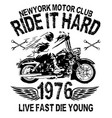 motorcycle typography vintage motor t-shirt vector image vector image