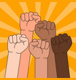 multi ethnic people with raised fist vector image