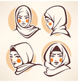 muslim girls collection vector image vector image