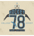 old college vintage style print design with hockey vector image