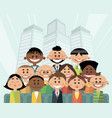 people on the city background vector image vector image