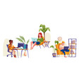 people work at home office sitting in chair vector image