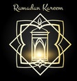 ramadan kareem poster with golden lamp vector image vector image