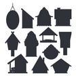 set different bird houses in monochrome color vector image vector image