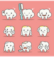 set of many tooth mascot with expression and pose vector image