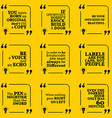 Set of motivational quotes about unique vector image vector image