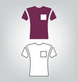 short sleeve pocket t-shirt icon vector image vector image
