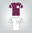short sleeve pocket t-shirt icon vector image vector image