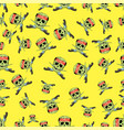 skull cross sharp dagger seamless pattern vector image vector image