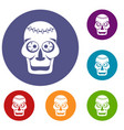 skull icons set vector image vector image