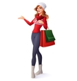 Smiling woman in Christmas outfit with shopping vector image vector image