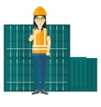 Stevedore standing on cargo containers background vector image vector image