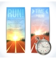 Stopwatch banners vertical vector image vector image
