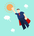 super business man in red capes flying upwards to vector image