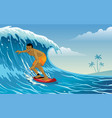 surfer playing surfing on waves vector image vector image