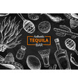 tequila bar blackboard label mexican vector image vector image