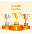 Trophy Cups On Podium Golden Bronze Silver