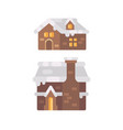 two winter house covered with snow christmas vector image