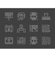 Warm floor system white line icons set