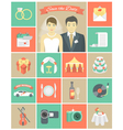 Wedding Icons in Squares vector image vector image