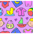 collection of element baby doodle set vector image