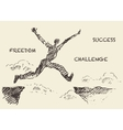 Drawn man jumping over the gap sketch vector image