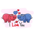 a pair of lovers a hippopotamus vector image vector image