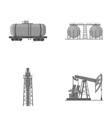 a railway tank an oil storage a drilling tower vector image