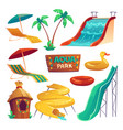 aqua park with water slides and inflatable rings vector image vector image