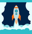 blue rocket takes off into space in a cloud vector image