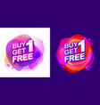 buy 1 get 1 free sale tag with fluid pink neon vector image