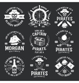 Caribbean Pirates Monochrome Emblems vector image