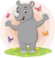 cartoon happy rhino with butterflies in grass vector image vector image