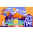 colourful of camping for vector image