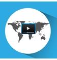 concept globe play social media vector image vector image