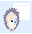 Cute cartoon hedgehog with blue flowers and frame vector image