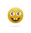 emoticon with euro symbol vector image vector image