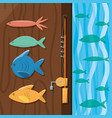 fish and rod over wood and sea vector image vector image