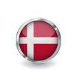 flag of denmark button with metal frame and vector image