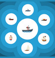 flat icon boat set of cargo delivery transport vector image vector image