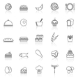 Food line icons with reflect on white vector image