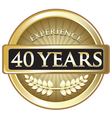 Forty Years Experience Gold vector image vector image