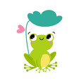 funny green frog with protruding eyes sitting vector image