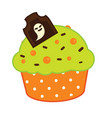 halloween cupcake icon with chcolate tombstone vector image
