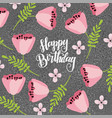 happy birthday doodle flowers scattered on the vector image vector image