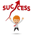 Happy businessman get success vector image