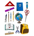 Happy cartoon school supplies characters vector image