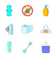 hygiene items icons set cartoon style vector image